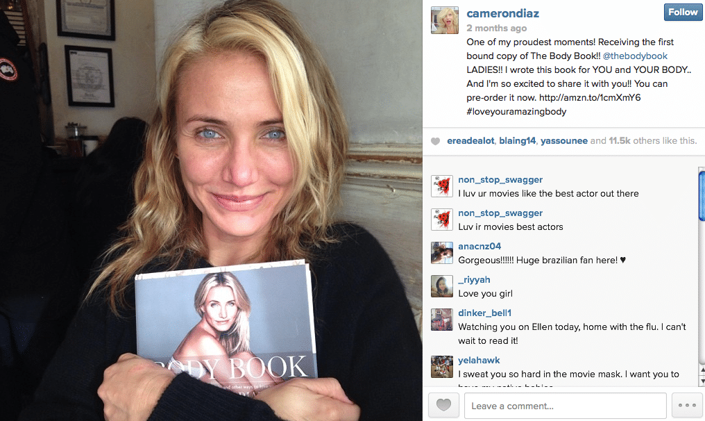 cameron diaz, the body book, instagram, beauty secrets, diet tips